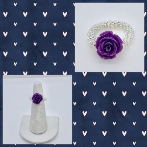 Purple Rose and Silver Starburst Bead Ring